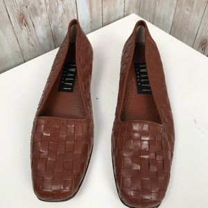 Amalfi Italy sz 7 Brown woven leather loafers